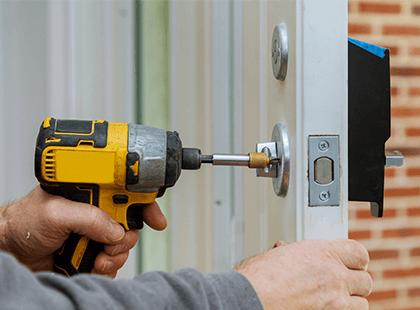 Installing lock onto front door