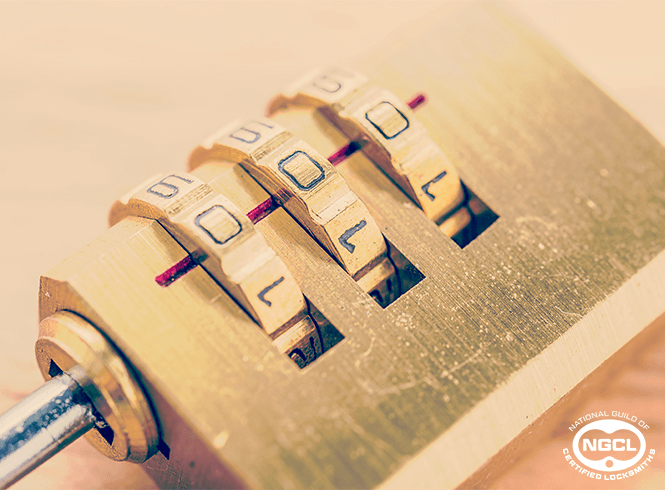Close up of keypad lock