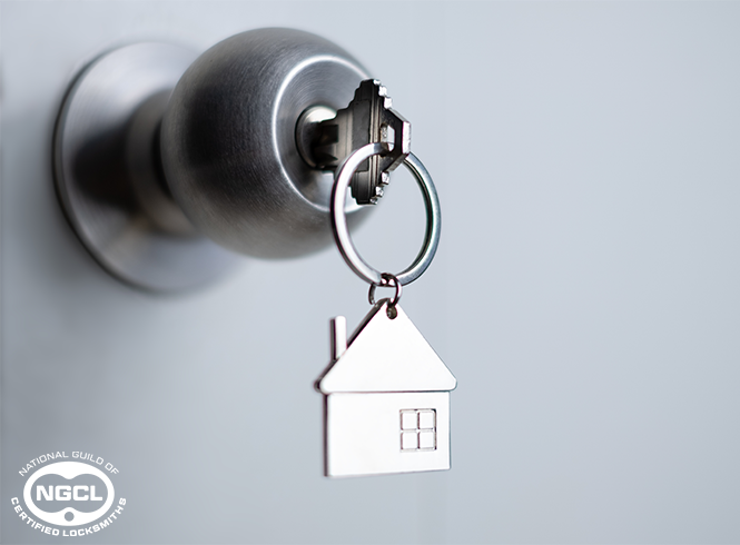 Key in Lock with House Keyring
